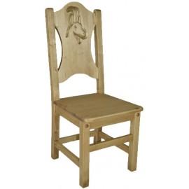 Chaise pin massif sculptée bouquetin - Esprit chalet