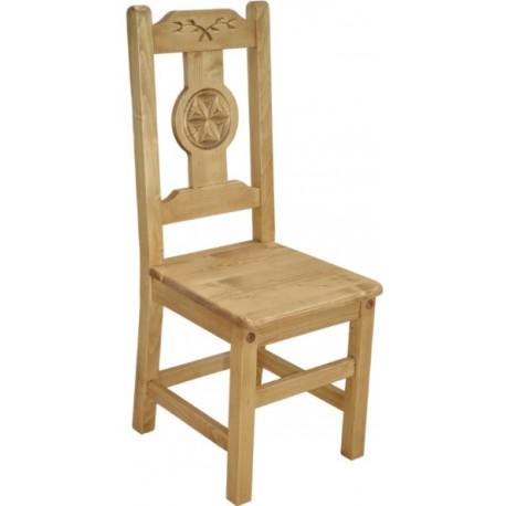 Chaise sculptée motif géométrique - Esprit chalet