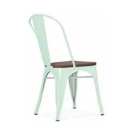Chaise d'atelier en acier vert clair assise orme antique