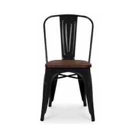 Chaise d'atelier teinte noire assise orme antique