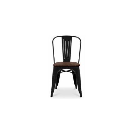 Chaise d'atelier en acier teinte noire assise orme antique