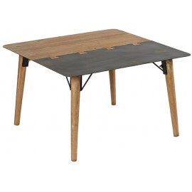 Table basse carrée en sapin et métal - Fusion Casita