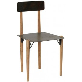 Chaise métal pieds bois - Fusion Casita