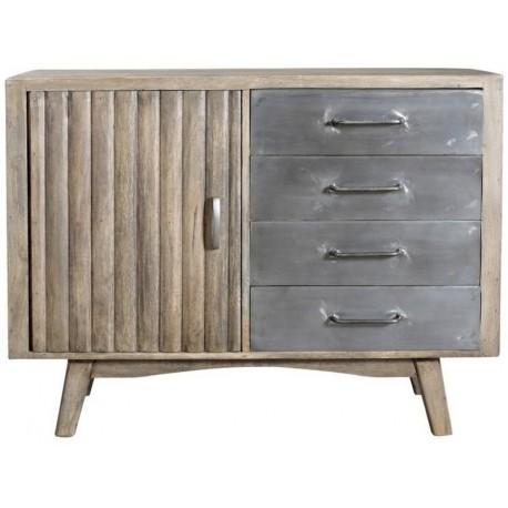 Buffet rondins 1 porte bois 4 tiroirs métal - Phoenix