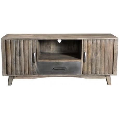 Meuble Tv rondin 2 portes bois et métal - Phoenix