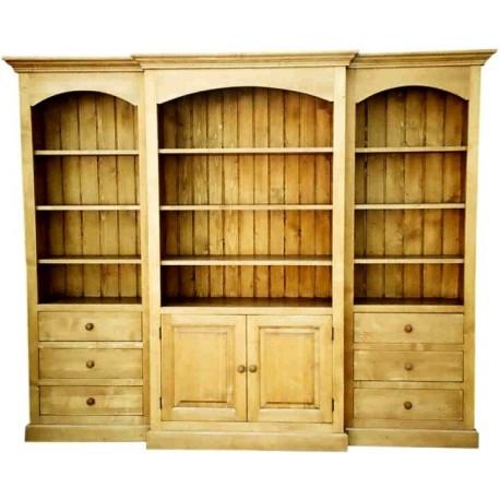 Bibliothèque à ressaut 2 portes 6 tiroirs - Val d'Isère