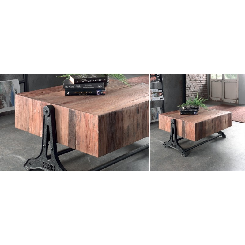 table basse bois recycl et fer vieilli kesla casita. Black Bedroom Furniture Sets. Home Design Ideas