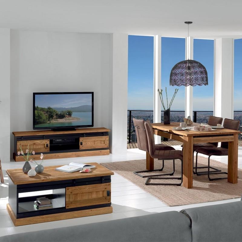 table basse pin 2 portes coulissantes rexton casita. Black Bedroom Furniture Sets. Home Design Ideas