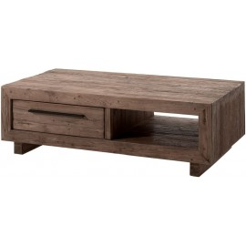 Table basse 2 tiroirs 1 niche teck recyclé - Oregon Casita