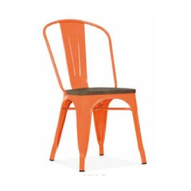 Chaise d'atelier orange assise orme antique