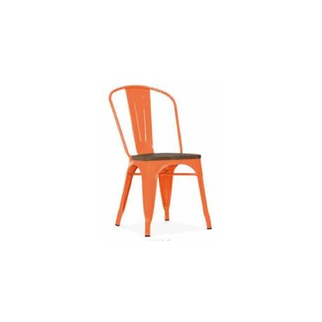 Chaise d'atelier orange assise orme antique