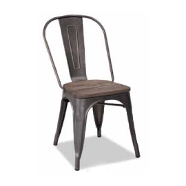 Chaise d'atelier acier assise orme antique