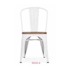 Chaise d'atelier blanche assise orme antique