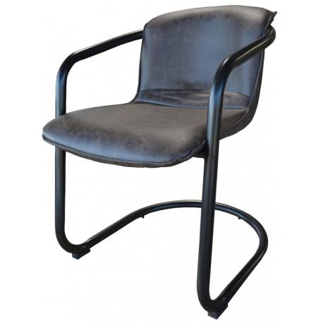 Chaise avec accoudoir acier recouvrement taupe