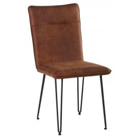 Chaise pieds acier polyester teinte havane