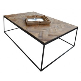 Table basse rectangulaire teck massif naturel