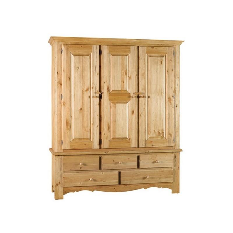 armoire 3 portes 5 tiroirs brunswick casita. Black Bedroom Furniture Sets. Home Design Ideas