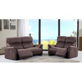 Salon relax électrique Stanza tissus brun