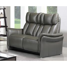 Canapé 2 places 2 relax électriques cuir gris