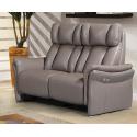 Canapé 2 places 2 relax électriques cuir taupe
