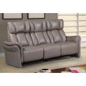 Canapé 3 places 2 relax en cuir couleur taupe