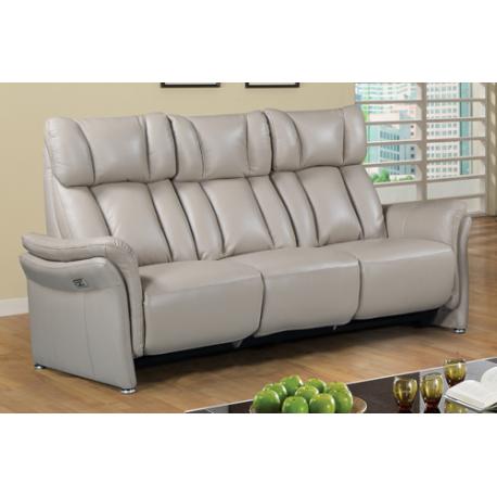 Canapé 3 places 2 relax en cuir teinte mastic