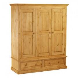 Armoire 3 portes 2 tiroirs en pin ciré
