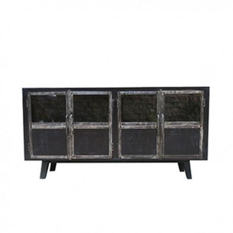 Buffet Ebony 4 portes finition manguier black et métal