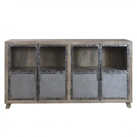 Buffet Phoenix 4 portes finition manguier grisé métal et verre