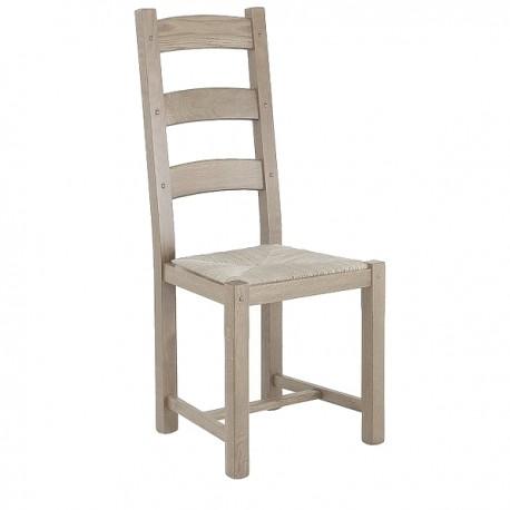 Chaise 3 barrettes pieds droits finition chêne brut
