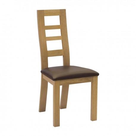 Chaise 3 panneaux vides pieds droits finition chêne naturel