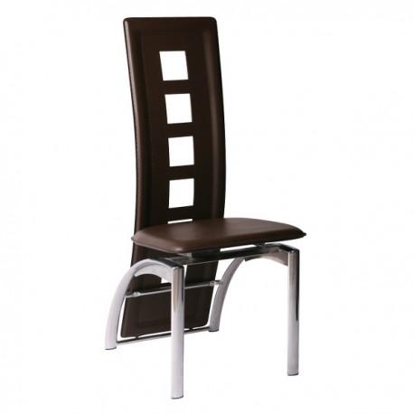 Chaise Delphine finition marron et acier chromé