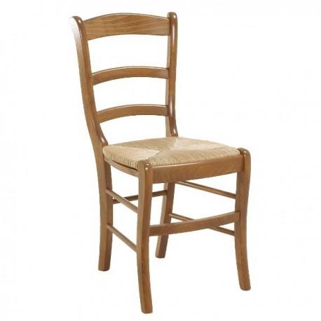 Chaise Extra 3 barrettes avec assise en paille finition hêtre doré