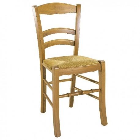Chaise 3 barrettes avec assise en paille finition hêtre doré