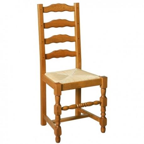 Chaise 4 barrettes avec pieds tournés finition hêtre doré