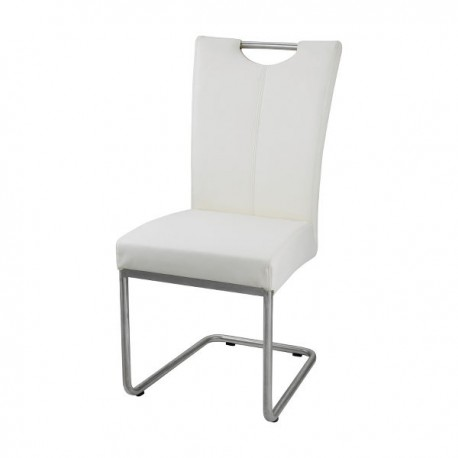 Chaise finition blanc et inox