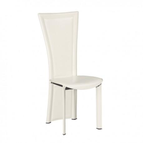 Chaise Joana finition cuir blanc