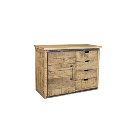 Buffet Olissan 1 porte finition manguier naturel tabac et métal
