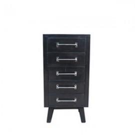 Petit meuble Ebony 5 tiroirs finition manguier black et métal