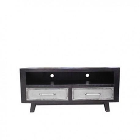 Meuble TV Ebony 2 tiroirs finition manguier black et métal