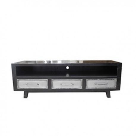 Meuble TV Ebony 3 tiroirs finition manguier black et métal