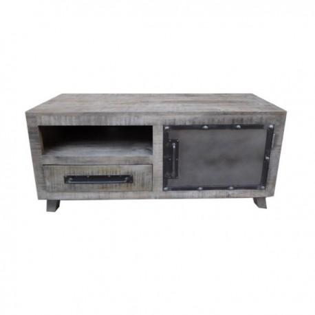 Meuble TV Phoenix 1 porte finition manguier grisé et métal