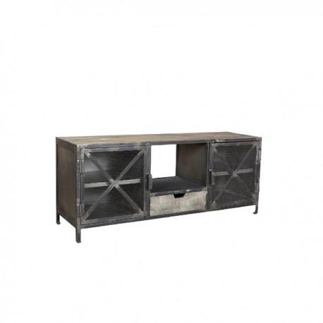 Meuble TV Olissan 2 portes finition manguier grisé et métal