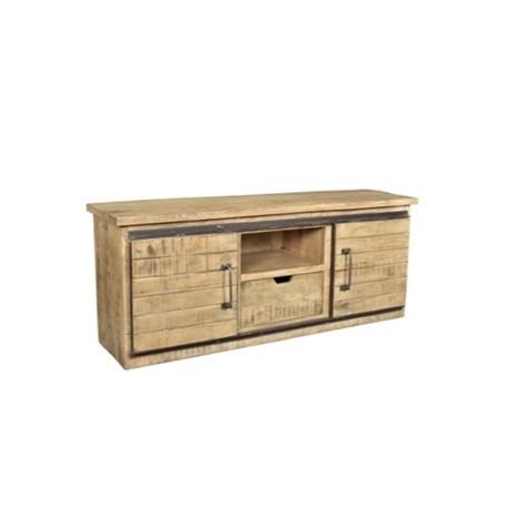Meuble TV Olissan 2 portes finition manguier naturel tabac et métal