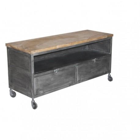 Meuble TV Métube petit modèle finition industriel antique et acacia