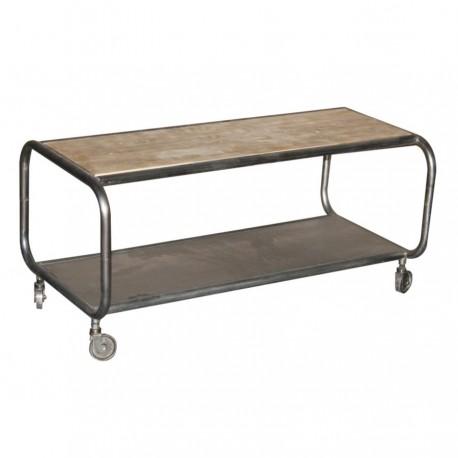Table de salon rectangulaire Métube petit modèle finition industriel antique