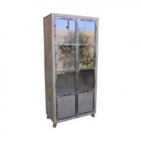 Meuble vitrine Phoenix 2 portes finition manguier grisé et métal