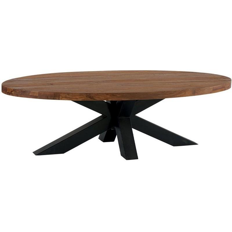 Table de salon ovale en teck massif recycl bailey casita Table de salon ovale