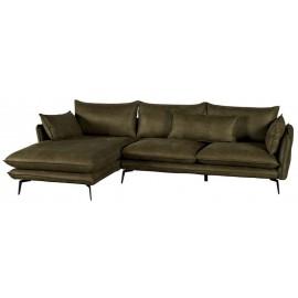 Canapé angle gauche microfibre kaki - Edan Casita