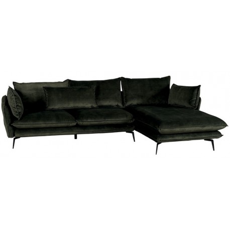 Canapé angle droit tissus polyester kaki - Edan Casita